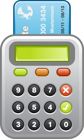 bank transfer: Card reader with blue credit card