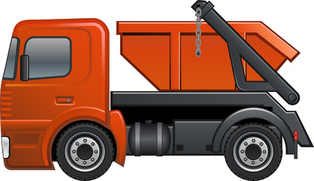 waste disposal: Truck with container Illustration