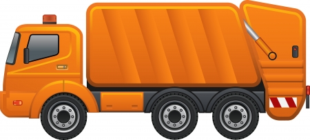 Orange Colored garbage truck