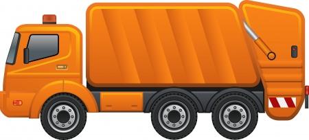Oranje gekleurde vuilniswagen