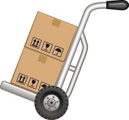 Sack kruiwagen met twee dozen