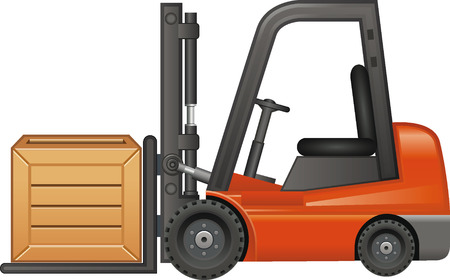 Forklift with wooden box Illustration