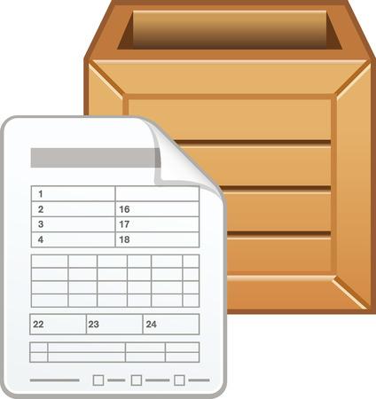 Vracht document met houten doos