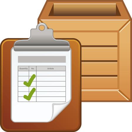 Inventarislijst met houten doos