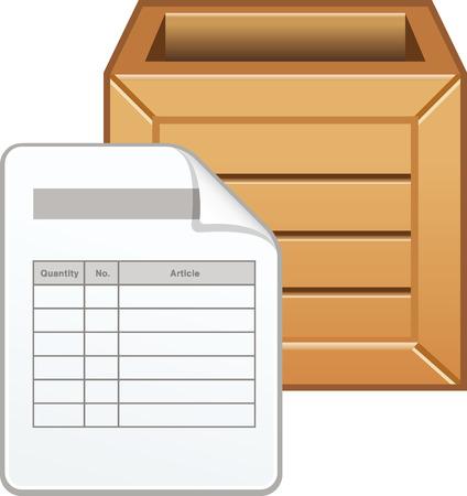 Pakbon met houten doos