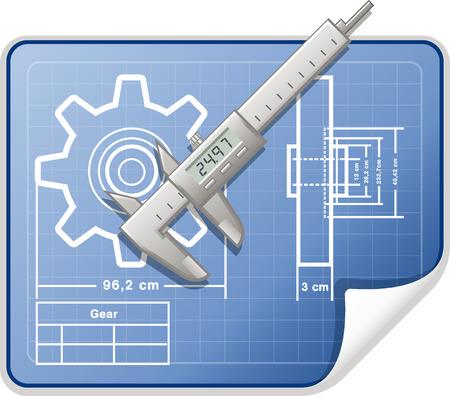 caliper: Technical drawing