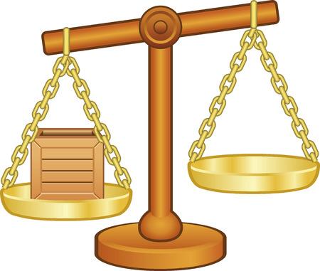 Balans met houten doos Stock Illustratie