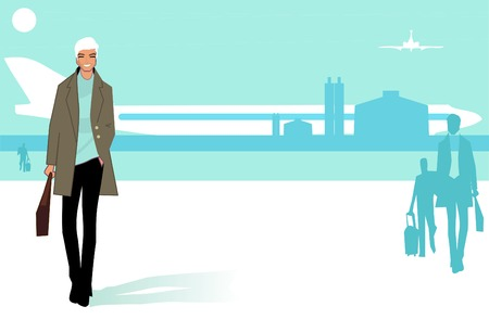 Happy travelling man who has descended from aircraft gangway .Young businessman. Airport background Vector