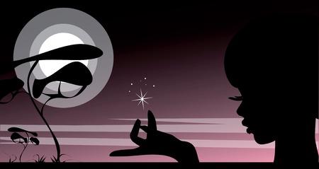 family grass: Enfrentan la silueta del joven hermosa mujer sosteniendo una estrella por un lado contra un paisaje de noche de la puesta del sol y del desierto con el �rbol de la solitaria, Luna