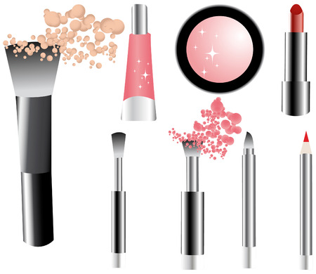 ceremonial makeup: Vector make-up icons set- brushes, pencil, lipstick, gloss, shadow, powder.Makeup Trends - One of series mak-up rules illustrations