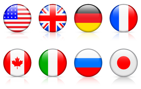 World flags:  G8 member countries Vectores