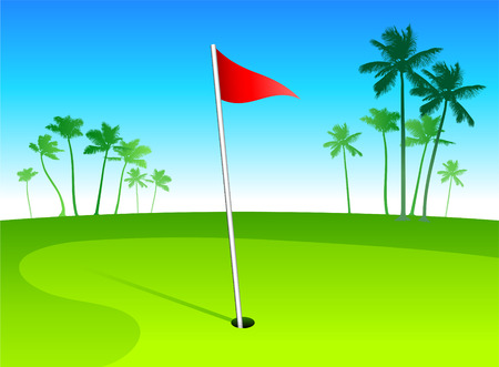 Luxury golf course in tropical vacation spot Vectores