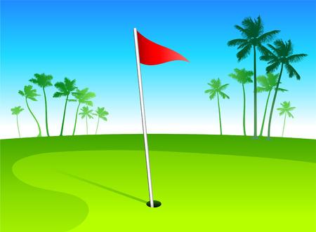 Luxury golf course in tropical vacation spot Illusztráció