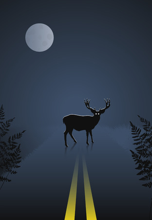 Deer crossing the road at night on sky and moon background Vector