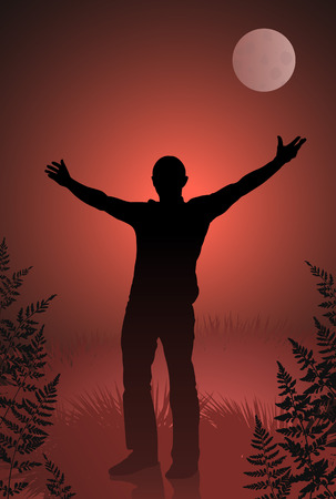 Male vampire with outstretched arms on bloody sky and moon background