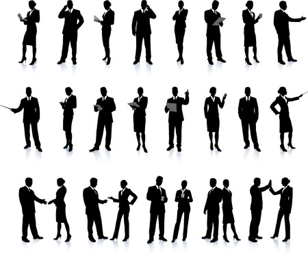 Business People Silhouette Super Set 26 unique high-detailed silhouettes featuring beautiful sexy models Each Silhouette is grouped File is AI 8 compatible and easy to manage Illustration