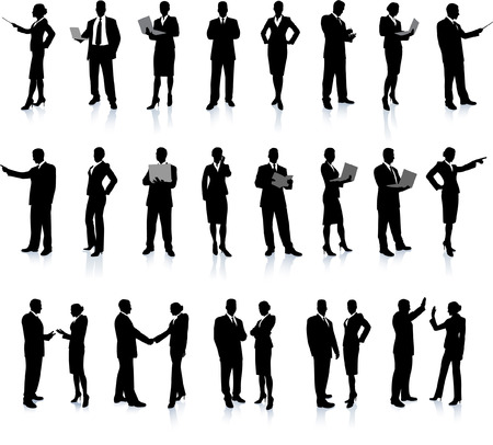 Business People Silhouette Super Set 26 unique high-detailed silhouettes featuring beautiful sexy models Each Silhouette is grouped File is AI 8 compatible and easy to manage Vectores