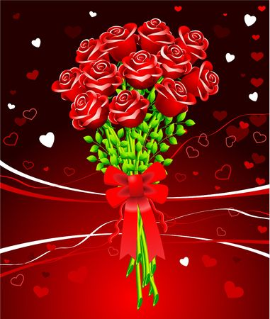 Valentines Day Illustration with roses illustration