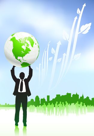 Original Illustration: Businessman holding globe nature internet background with new york skyline AI8 compatible  Imagens