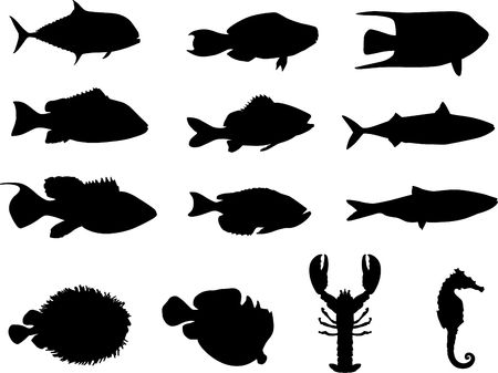 Original Illustration: Fish and sea life silhouettes AI8 compatible Stock Illustration - 6426284