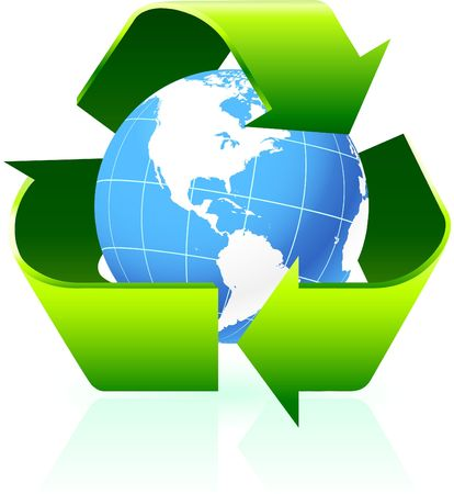 recycling: Original Illustration: Recycling symbol with globe background AI8 compatible  Stock Photo