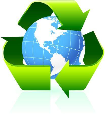 Original Illustration: Recycling symbol with globe background AI8 compatible  illustration