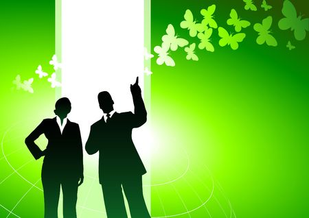 environmental suit: Original Illustration: Business people with green nature internet background AI8 compatible