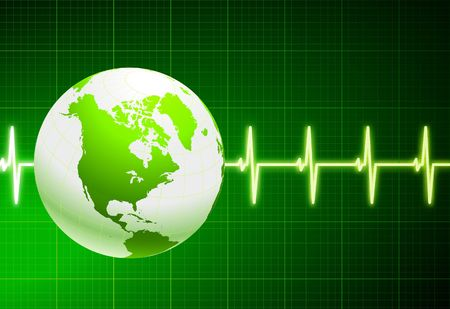 Original Illustration: Simple cardiogram green background with globe  AI8 compatible