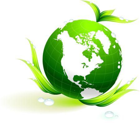 the americas: Original Illustration: Globe on organic leaves background AI8 compatible