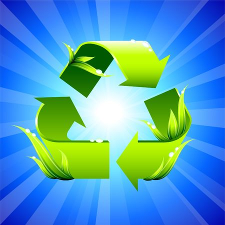 going green: Original Illustration: Recycling sign on glowing background AI8 compatible