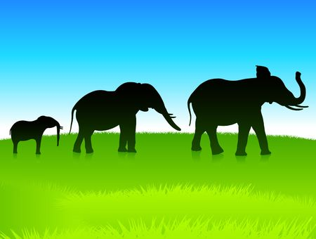 image size: Original Illustration: elephants in the wild AI8 compatible
