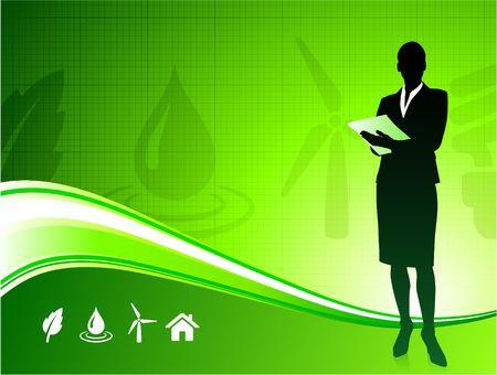 Original Illustration: Business woman on green environment background AI8 compatible  illustration