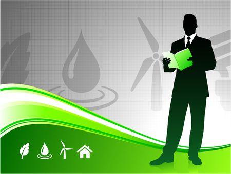 Original Illustration: Business man on green environment background AI8 compatible  illustration