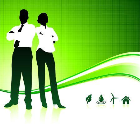 Original Illustration: Business team on green environment background AI8 compatible  illustration