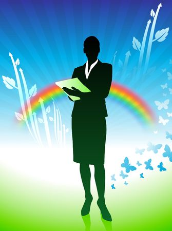 Original Illustration: businesswoman on green nature background with rainbow AI8 compatible  Stock Photo