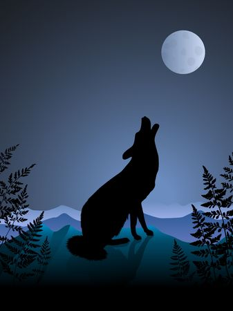 Original Illustration: wolf howling at the moon on night background AI8 compatible illustration