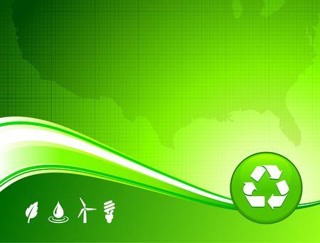Original Illustration: green environment US map background AI8 compatible Stock Illustration - 6426293