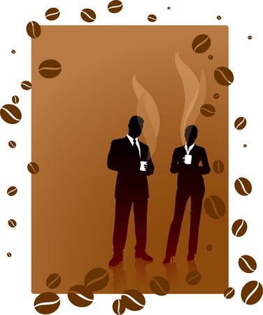Business people Silhouette coffe background photo
