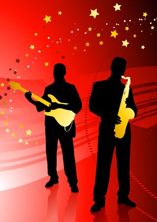 Music red background with stars Stock Photo - 6441538