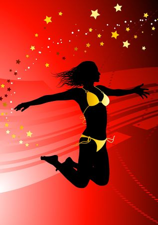 outstretched: Sexy Young Woman on Abstract Red Background Original Vector Illustration Stock Photo