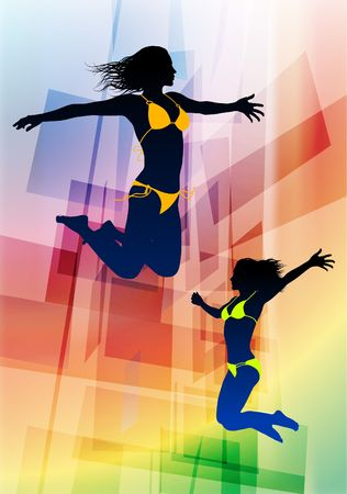 outstretched: Sexy Young Women Jumping on Abstract Background Original Vector Illustration