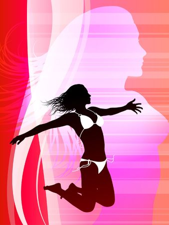 outstretched: Sexy Young Woman on Abstract Internet Background Original Vector Illustration
