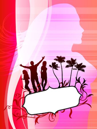 Sexy Young People Party with Tropical Frame Original Vector Illustration illustration