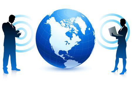 Moderne zakelijke communicatie internet achtergrond met wereld bol