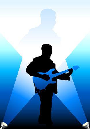 ギター プレーヤー シルエット背景 写真素材
