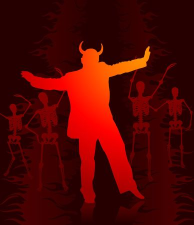 Devil in hell background Stock Photo - 6441365
