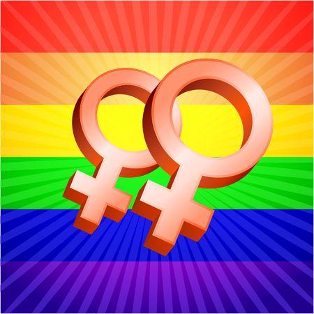 Lesbian symbol rainbow background