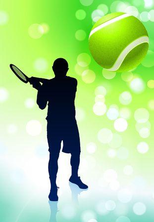 Tennis Player on Green Lens Flare Background Original Vector Illustration illustration