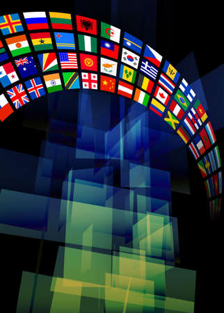 the americas: Abstract Flags Banner Background Original Vector Illustration