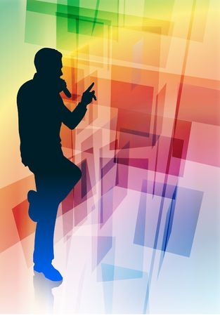 Singer on Abstract Background Original Vector Illustration illustration